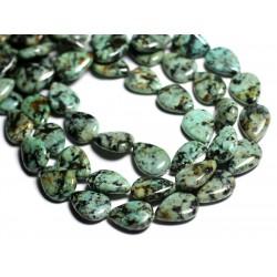 2pc - Perles de Pierre - Turquoise d'Afrique Gouttes 18x13mm - 4558550092977