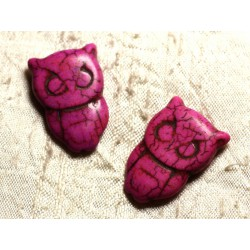 4pc - Perles Turquoise synthèse Chouette Hibou 30x20mm Rose Fuchsia 4558550011718