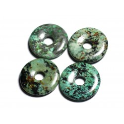 Pendentif en Pierre semi précieuse - Turquoise Afrique Donut Pi 30mm - 4558550091796