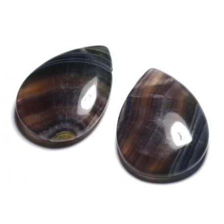 Pendentif Pierre semi précieuse - Fluorite Multicolore Grande Goutte 60mm - 4558550091659