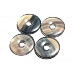 Pendentif en Pierre semi précieuse - Fluorite Multicolore Donut Pi 30mm - 4558550091765