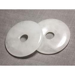 Pendentif Pierre semi précieuse - Cristal de Roche Quartz Grand Donut Pi 60mm - 4558550091369