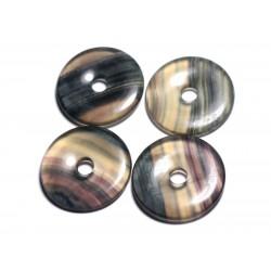 Pendentif Pierre semi précieuse - Fluorite Multicolore Donut Pi 40mm - 4558550091420