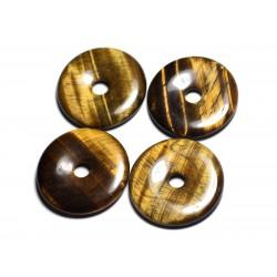 Pendentif Pierre semi précieuse - Oeil de Tigre Donut Pi 40mm - 4558550091444