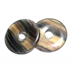 Pendentif Pierre semi précieuse - Fluorite Multicolore Grand Donut Pi 60mm - 4558550091352