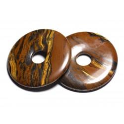 Pendentif Pierre semi précieuse - Oeil de Tigre Grand Donut Pi 60mm - 4558550091345