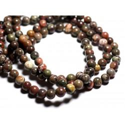 6pc - Perles de Pierre - Opale Verte Boules 8mm - 4558550089472