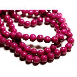 10pc - Perles de Pierre - Jade Boules 8mm Rose Fuchsia - 4558550089656