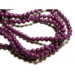 20pc - Perles de Pierre - Jade Boules 6mm Violet Prune - 4558550089670