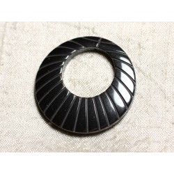 Pendentif Donut Pierre - Hématite Gravée 39mm avec perçage - 4558550032638