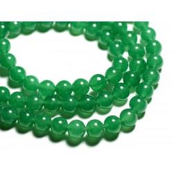 10pc - Perles de Pierre - Jade Boules 10mm Vert Emeraude - 4558550089717