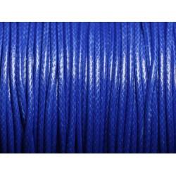 5 mètres - Cordon coton ciré enduit Rond 2mm Bleu Roi - 4558550088376