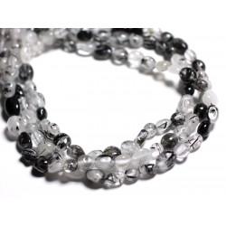 10pc - Perles de Pierre - Quartz Tourmaline 4-9mm 4558550024084