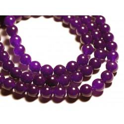 10pc - Perles de Pierre - Jade Boules 10mm Violet - 4558550089724