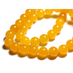 8pc - Perles de Pierre - Jade Boules 12mm Jaune Orange - 4558550089748