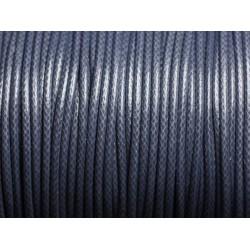 5 mètres - Cordon coton ciré enduit Rond 2mm Gris Bleu Anthracite - 4558550088345
