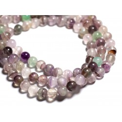 10pc - Perles de Pierre - Fluorite Multicolore Boules 8mm - 4558550089458