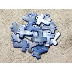 4pc - Perles Breloques Pendentifs Nacre Croix 22mm Bleu Roi 4558550004826