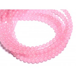 40pc - Perles de Pierre - Jade Boules 4mm Rose Bonbon - 4558550089618