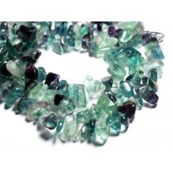 30pc - Perles de Pierre Fluorite Multicolore - Grosses rocailles chips 6-18mm - 4558550089212