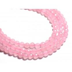 20pc - Perles de Pierre - Jade Boules Facettées 6mm Rose clair - 4558550089199