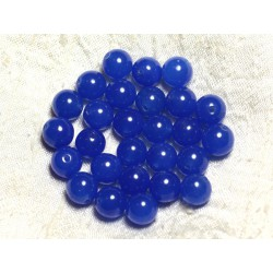 10pc - Perles de Pierre - Jade Boules 10mm Bleu Roi 4558550002426