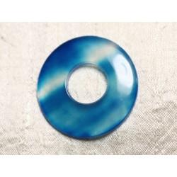 Pendentif Pierre semi précieuse - Agate Bleu Turquoise Donut 45mm N30 - 4558550086174