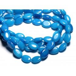 6pc - Perles de Pierre - Jade Ovales 14X10mm Bleu Azur - 4558550081797