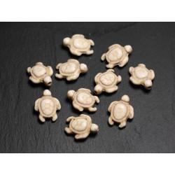 10pc - Perles de Pierre Turquoise synthèse - Tortues 19x15mm Blanc crème - 4558550087744