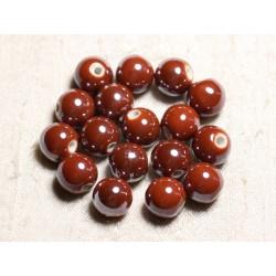 10pc - Perles Céramique Porcelaine Boules 12mm Marron Brique irisé - 4558550088826