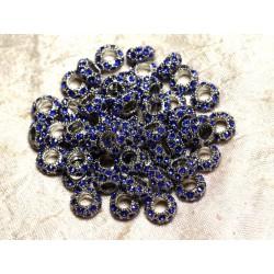 2pc - Perles rondelles 11mm gros trous - Métal Argenté Rhodium et Strass Verre Bleu Roi - 4558550010131