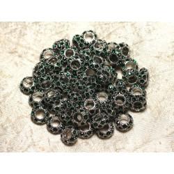 2pc - Perles rondelles 11mm gros trous - Métal Argenté Rhodium et Strass Verre Vert - 4558550015532
