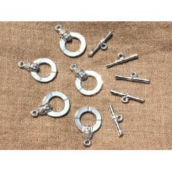 30 sets - Fermoirs T Toogle Bouddha 25mm Métal Argenté Qualité - 4558550006974