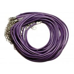 10pc - Colliers Tours de cou Coton Ciré 2mm Violet - 4558550016522