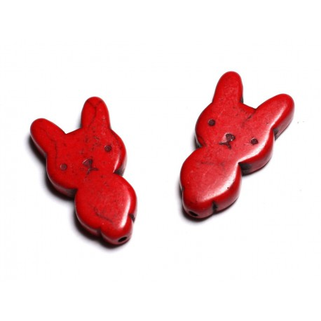 10pc - Perles Turquoise synthèse Lapin 28mm Rouge - 4558550088253