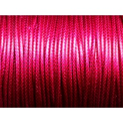 5 mètres - Cordon coton ciré enduit Rond 2mm Rose Fuchsia - 4558550088291