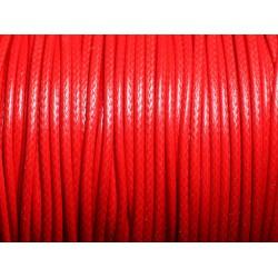 5 mètres - Cordon coton ciré enduit Rond 2mm Rouge vif - 4558550088307