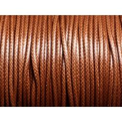 5 mètres - Cordon coton ciré enduit Rond 2mm Marron - 4558550088314