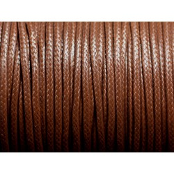 5 mètres - Cordon coton ciré enduit Rond 2mm Marron Chocolat - 4558550088321