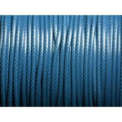 5 mètres - Cordon coton ciré enduit Rond 2mm Bleu Paon Canard - 4558550088369