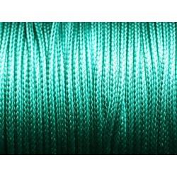 5 mètres - Cordon coton ciré enduit Rond 2mm Vert Emeraude Turquoise - 4558550088383