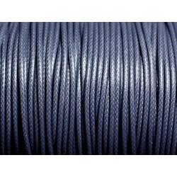 5 mètres - Cordon coton ciré enduit Rond 1.5mm Gris Bleu Anthracite - 4558550088390
