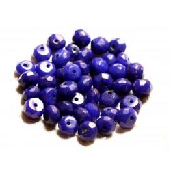 10pc - Perles de Pierre - Jade Rondelles Facettées 8x5mm Bleu nuit - 4558550008992