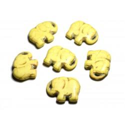 1pc - Grande Perle Pendentif en Pierre Turquoise synthèse - Elephant 40mm Jaune - 4558550087850