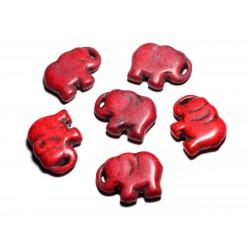 1pc - Grande Perle Pendentif en Pierre Turquoise synthèse - Elephant 40mm Rouge - 4558550087874