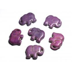 1pc - Grande Perle Pendentif en Pierre Turquoise synthèse - Elephant 40mm Violet - 4558550087898
