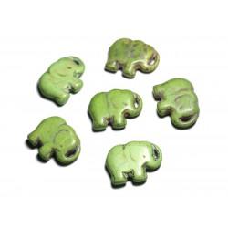 1pc - Grande Perle Pendentif en Pierre Turquoise synthèse - Elephant 40mm Vert - 4558550087904