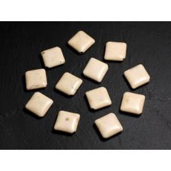 10pc - Perles de Pierre Turquoise synthèse - Losanges 18x14mm Blanc crème - 4558550087928