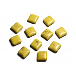 10pc - Perles de Pierre Turquoise synthèse - Losanges 18x14mm Jaune - 4558550087935