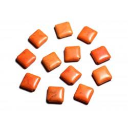 10pc - Perles de Pierre Turquoise synthèse - Losanges 18x14mm Orange - 4558550087942